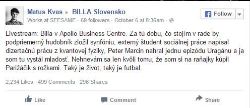 Prostredníctvom FB sa sťažoval na dlhý rad v Bille. Komentáre vás zaručenie pobavia :D