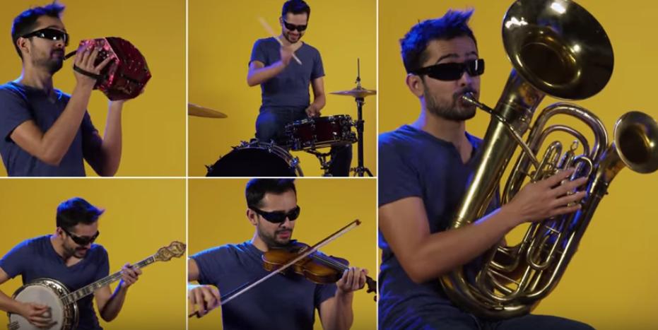Jeden muž, jedna skladba, 90 nástrojoch! Vypočujte si známu skladbu v perfektom a jedinečnom coveri