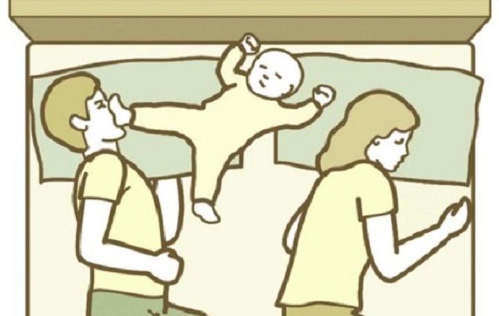 Zábavné polohy pri spaní, ktoré môžu nastať s dieťaťom v posteli