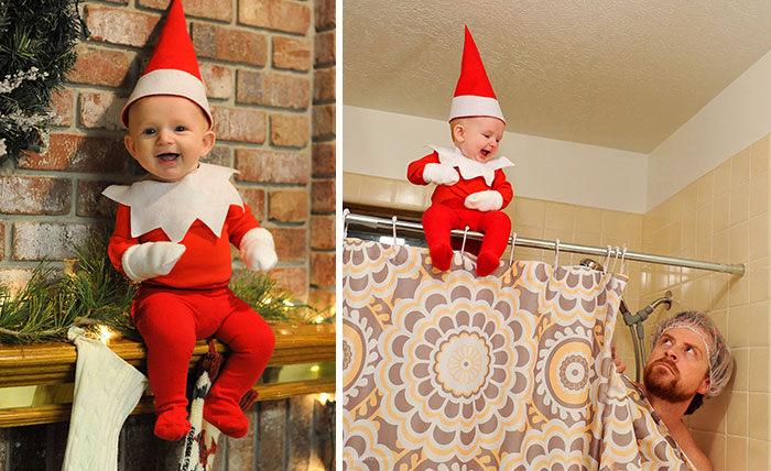 Najrozkošnejší vianočný škriatok na svete aj na nebezpečných fotografiách :)