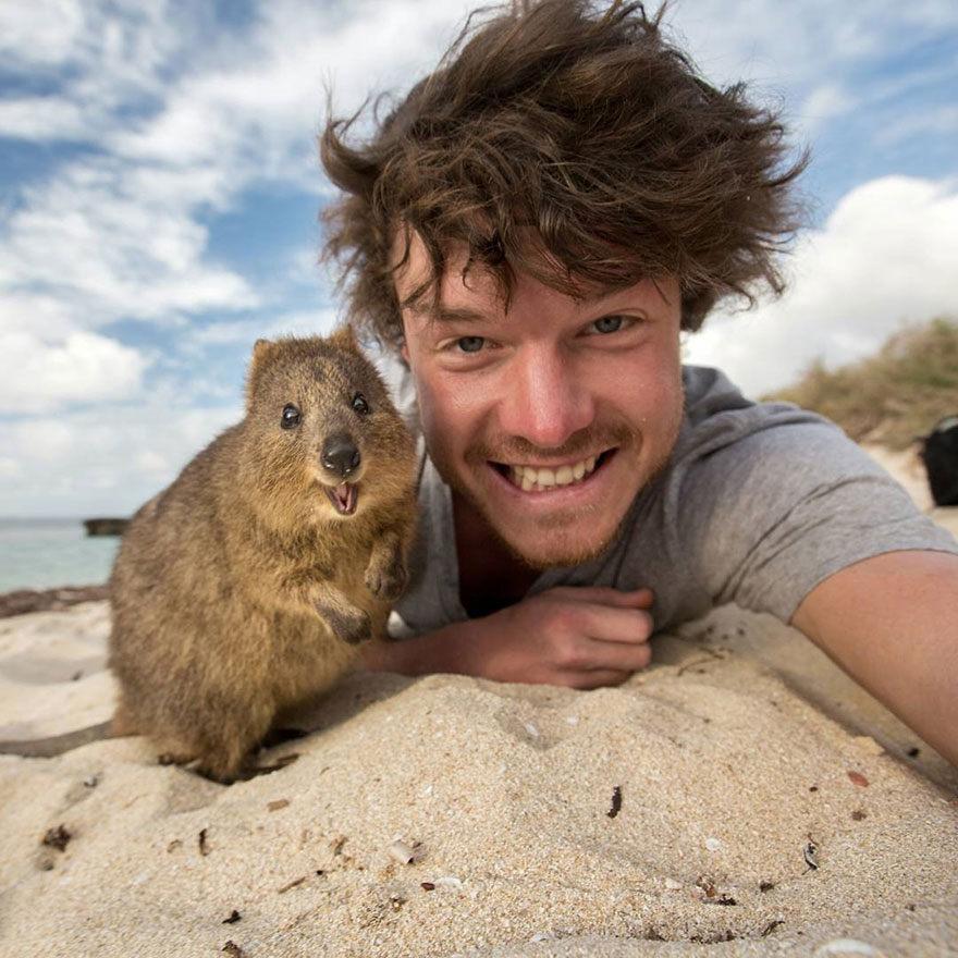 Tento muž je majster v selfie fotkách so zvieratami! To čo sa podarilo jemu sa podarí málokomu!