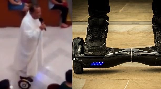 Moderný kňaz spieval v kostole na hoverboarde! Aké boli reakcie ľudí  VIDEO 4168da9fd1f
