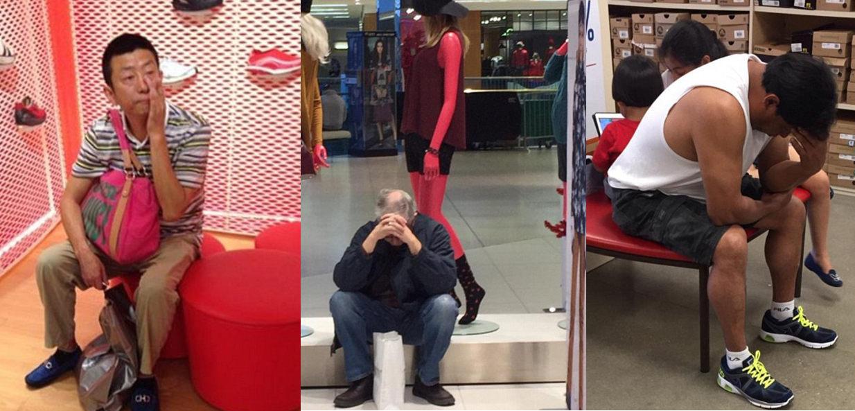 Extrémne znudení chlapi čakajúci na svoje polovičky počas nakupovania