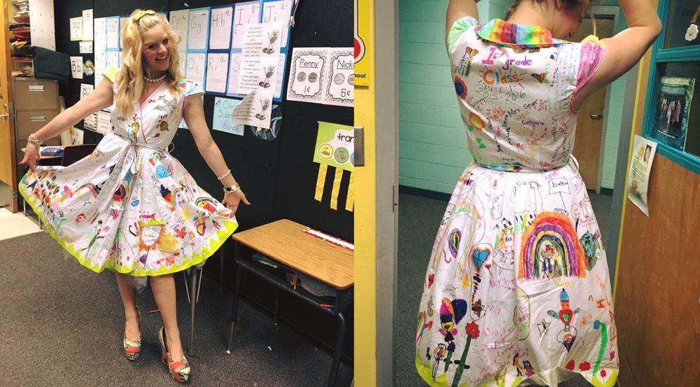 Učiteľka si obliekla biele šaty a nechala sa pokresliť svojimi žiakmi. Čo ju k tomu viedlo?