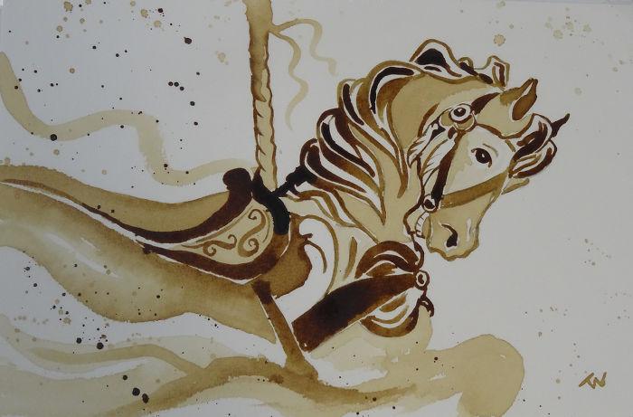 Neuveríte, akým spôsobom boli vytvorené tieto diela. Autor ich totiž maľoval kávou