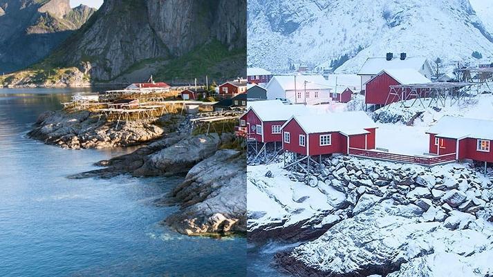 10 nádherných fotografií pred tým a potom, čo krajinku pokryl sneh. Z týchto fotografií vám spadne sánka