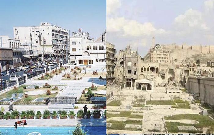 10 mrazivých fotografií predtým a potom, čo Sýriu zasiahli obrovské vojnové konflikty