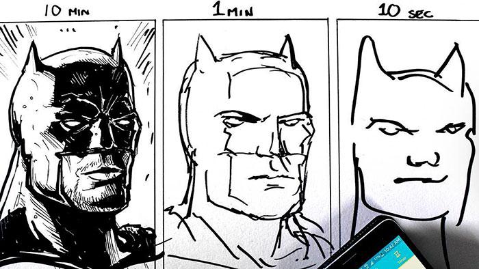 Takto vyzerá rozdiel medzi dielami, ktoré autor nakreslí za 10 minút, 1 minútu a za 10 sekúnd