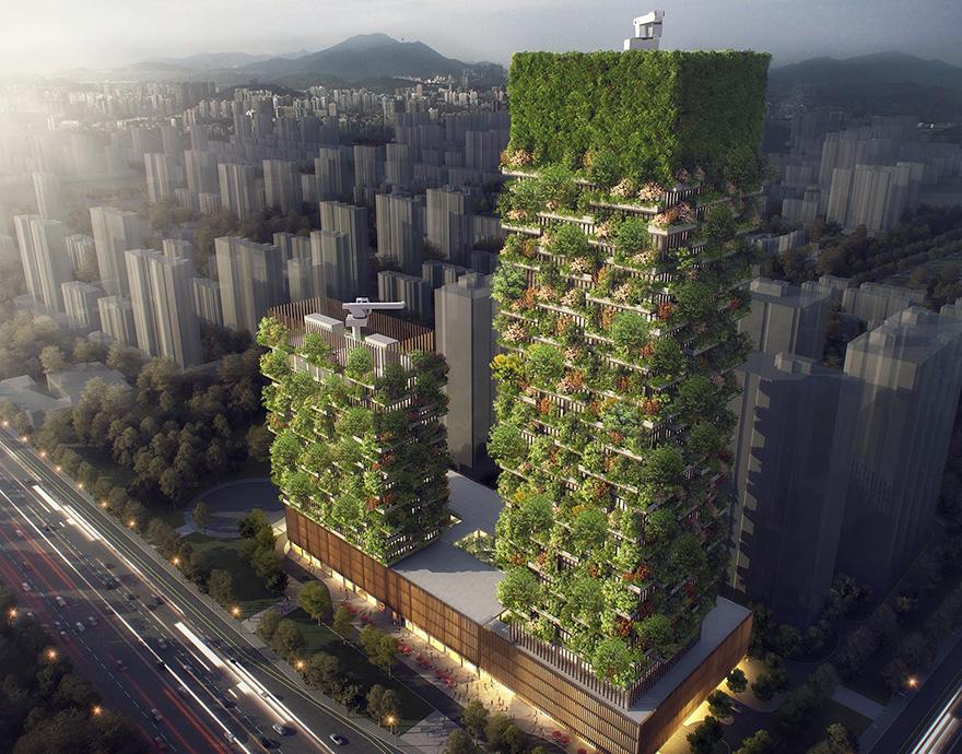 Prvý vertikálny les v Ázií bude obsahovať viac ako 3000 rastlín a premení denne CO2 na 60 kg kyslíka