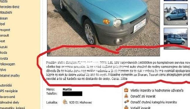 Zábavné inzeráty #4: Žena toto auto kúpila bez mužovho vedomia a on sa na ňom hanbí chodiť do práce