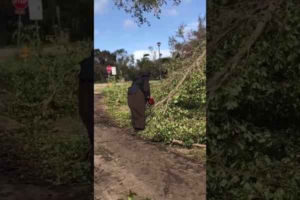 Mníška sa stala hitom internetu. Namiesto modlitebnej knižky vzala motorovú pílu a pomáhala upratať ulice po ničivom hurikáne Irma