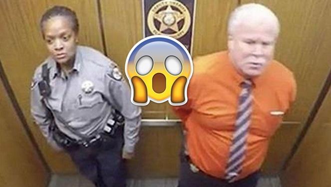 Dôchodca sa ocitol vo výťahu sám s policajtkou. Pozrite aké vyvádzanie nasnímala bezpečnostná kamera