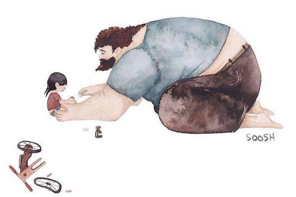 Umelkyňa sa pokúsila znázorniť nádherný vzťah medzi dcérou a otcom. Keď zistíte, čo ju k tomu viedlo, budete šokovaní