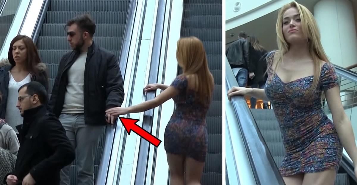 Príťažlivá blondínka sa dotýkala náhodných mužov na eskalátoroch. Aké sú reakcie ich a ich priateliek?
