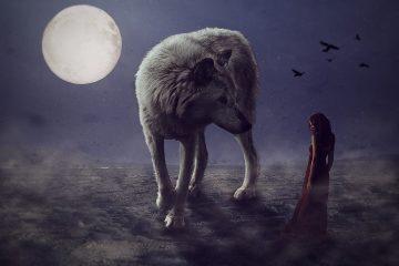 vlk, žena, mesiac