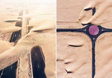 Dubaj a Abu Dhabi sú obklopené pieskom. Fotograf sa rozhodol zachytiť, ako púšť vplýva na tieto mestá