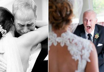 Svadobné fotografie, ktoré vás dostanú: Pozrite si reakcie otcov, ktorí po prvýkrát uvideli svoje dcéry v svadobných šatách