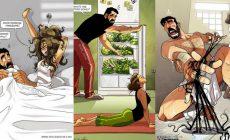 Umelec zachytáva každodenný život so svojou manželkou prostredníctvom rozkošných komiksov. Ako vyzerá pár v skutočnosti?