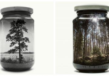 Keď je práca hrou: Farebné i čierno-biele fotografie krajiniek uchované v sklenenom pohári