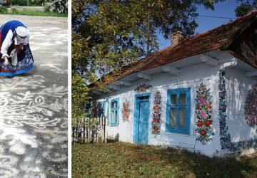 Poľská babička sa snaží zachovať tradície tým, že maľuje na cesty ľudové motívy. Podobný zvyk nájdete i v poľskej dedinke Zalipie