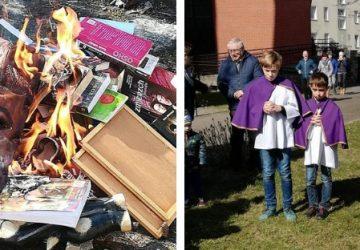 Kňazi v Poľsku zorganizovali verejne pálenie, v ohni skončil Harry Potter, Súmrak aj symboly iných náboženstiev